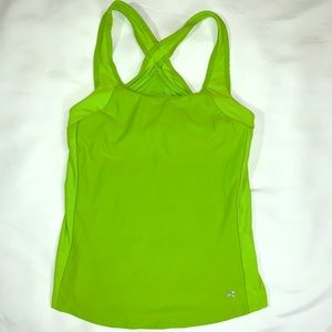 Bright green active wear top with built in bra